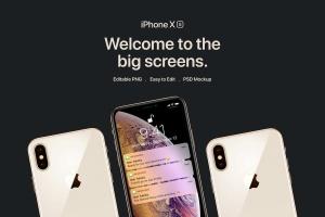 正反面视角iPhone Xs智能手机样机 New iPhone XS Mockup插图1