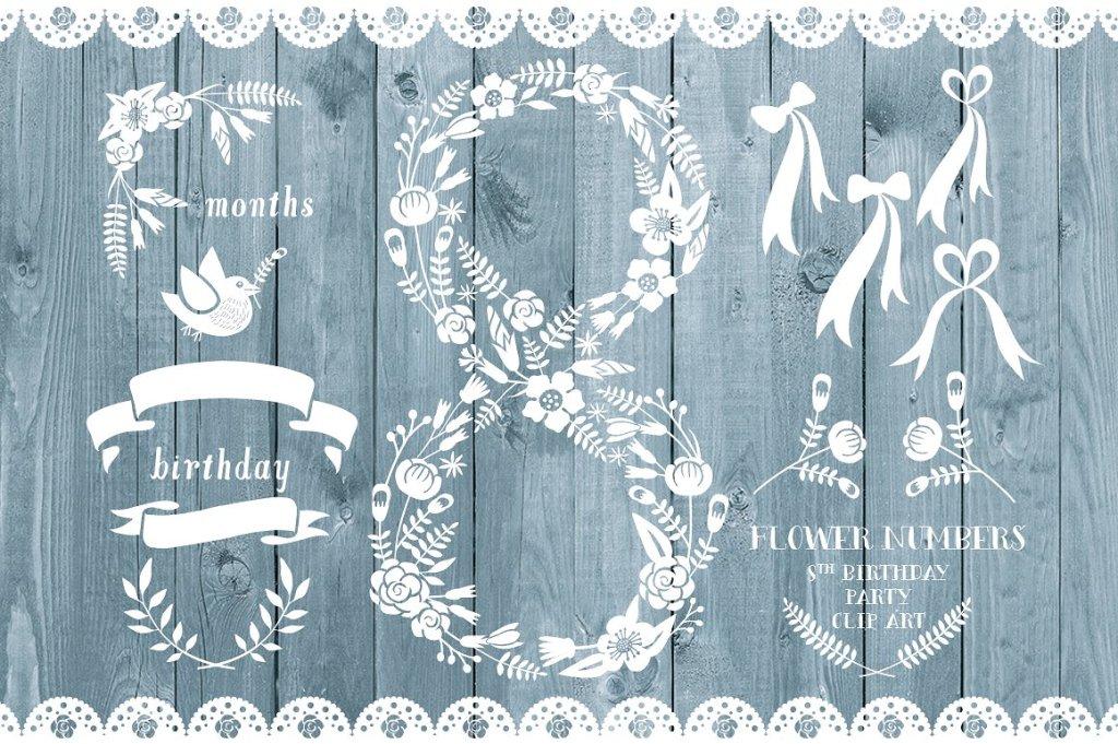 白色花朵叶子的数字8造型装饰素材 Floral number eight, card invite插图