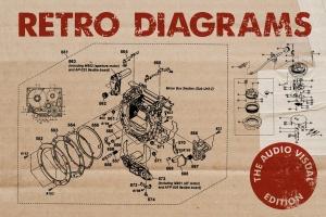 复古视听电器可视化结构矢量图形素材 Retro Diagrams – Audio Visual Edition插图1