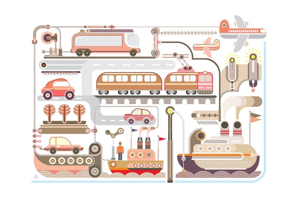 旅行&交通主题矢量插画设计素材 Travel and Transport vector design插图