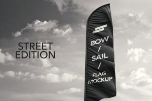 3D羽毛旗帜展示样机模板 3D Flags Feather / Bow / Sail Flag Mockup插图1