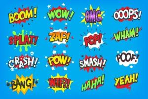 动漫对话气泡矢量图形设计素材 Onomatapoeia. Comic speech bubbles插图2