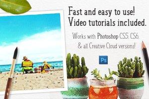 水彩插画效果PS图层样式 Watercolor Photo Effect Pro插图8