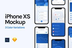 三色iPhone XS/MAX手机UI设计演示样机模板 iPhone XS Mockup插图1