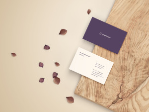 名片设计前视图&后视图样机模板 Front & Back Business Card Mockup插图1