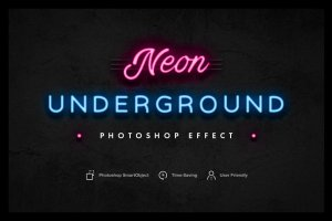 炫彩霓虹灯效果PS图层样式 Neon Underground Photoshop Effect插图1