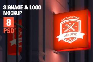 标牌和徽标设计PSD样机 Signage & Logo Mock-up插图1