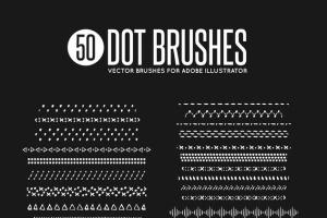 50款矢量绘画装饰元素图案AI笔刷 50 Vector Dot Brushes插图2