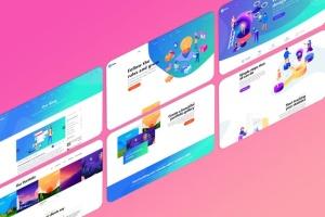 设计师必备等距iMac电脑网页设计展示样机套装 Isometric iMas Website Mockup插图7