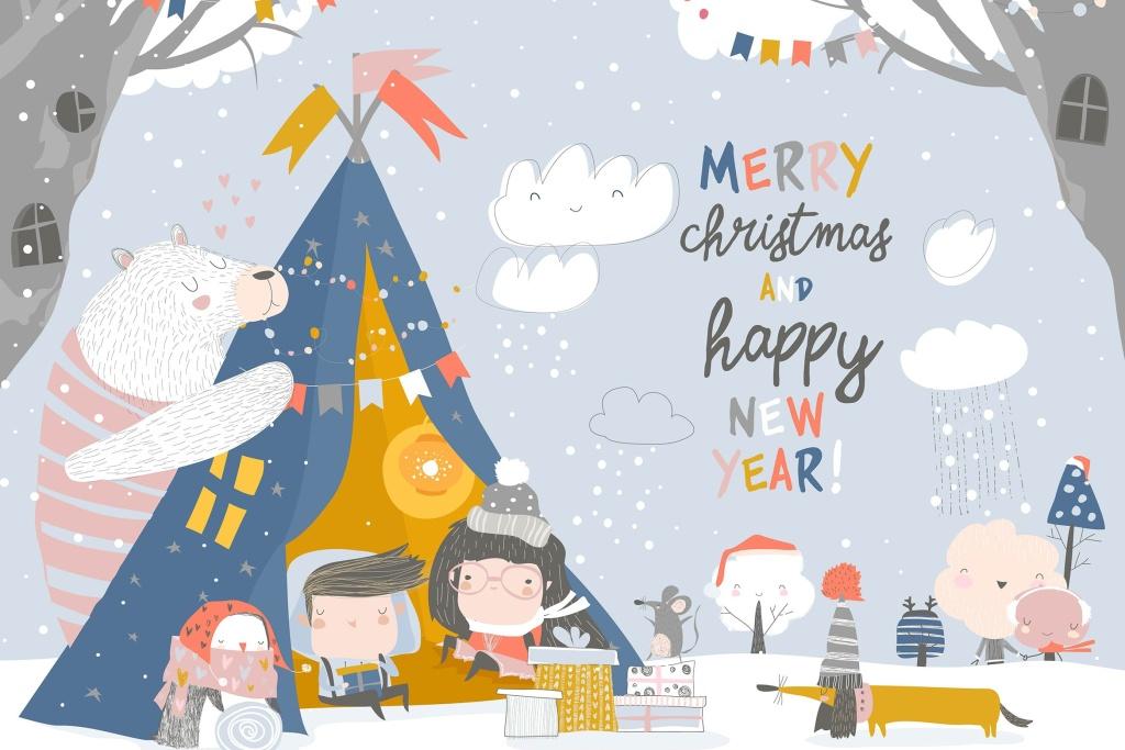 儿童与动物庆祝圣诞节场景矢量手绘插画素材 Kids celebrating Christmas with animals in a teepe插图