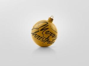 闪闪发光圣诞装饰球样机模板 Glitter Christmas Ball Mockup插图2