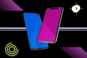 高质量霓虹灯风格iOS/Android手机样机模板 Neon IOS & Android插图13
