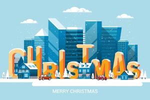 圣诞节&2020新年快乐主题矢量场景插画素材 Merry Christmas and and Happy New Year cards插图(1)