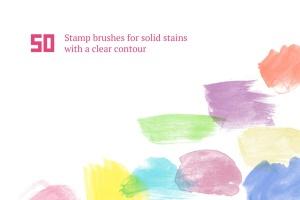 50个手工水彩笔刷笔触图形PS笔刷#1 Watercolor Brush Set #1插图4