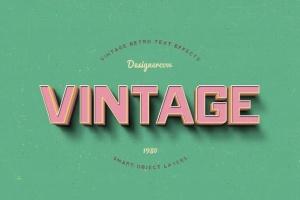 14个复古风格立体特效PS字体样式 14 Vintage Retro Text Effects插图2