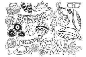 夏季主题涂鸦手绘矢量图案素材 Summer Stuff Doodle Vector插图(2)