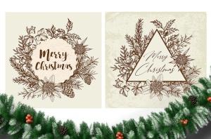 圣诞主题复古设计风格素材包[元素/背景/无缝纹理] Merry Christmas Vintage Design Kit插图7