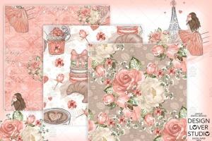 食物元素水彩花卉剪贴画设计套装 Paris je t'aime digital paper pack插图4