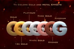 10款3D金色金属字体效果PSD分层模板 3D Metal & Gold Effects插图3