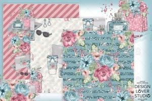 水彩花卉无缝图案设计素材 Boss Girl digital paper pack插图3