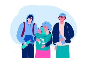 垃圾分类回收扁平设计风格矢量环保插画 Recycling – flat design style illustration插图1