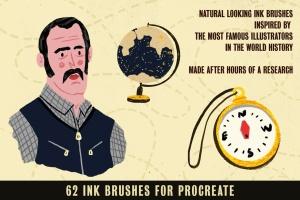 历史插画名家手绘风格Procreate绘画笔刷 Auld Inks for Procreate插图2