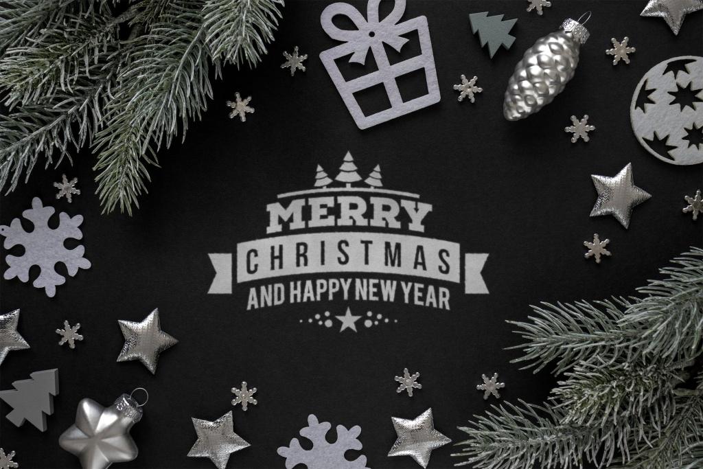 银色圣诞节主题背景场景样机 Silver Christmas mockup插图