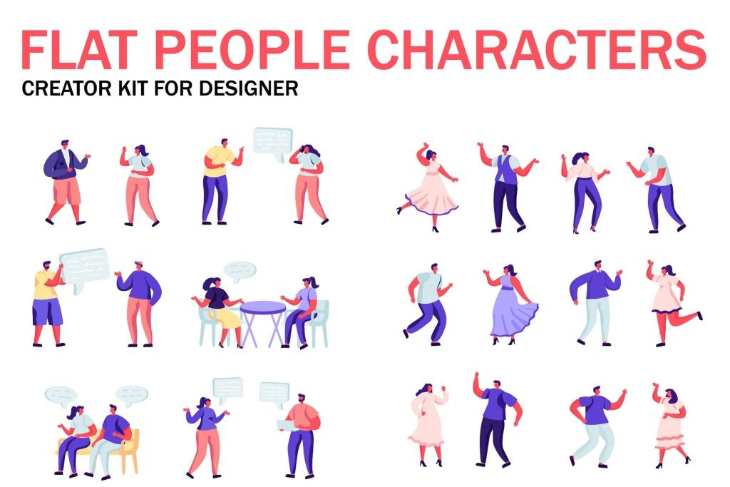 扁平化设计风格虚拟人物角色图形设计工具包v2 Flat People Character Creator Kit插图