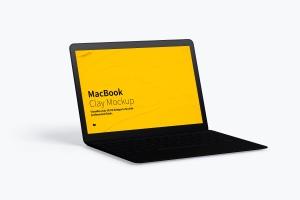 MacBook陶瓷黏土材质笔记本电脑UI设计预览左视图样机 Clay MacBook Mockup, Left View插图3