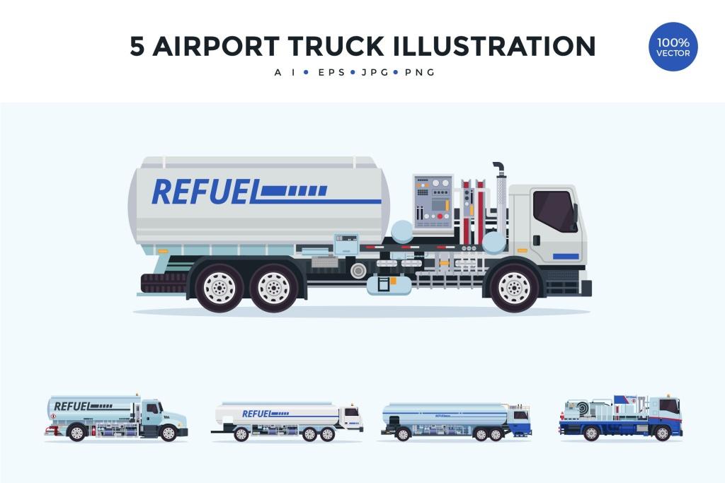 5个机场卡车矢量图形素材v1 5 Airport Truck Vector Illustration Set 1插图