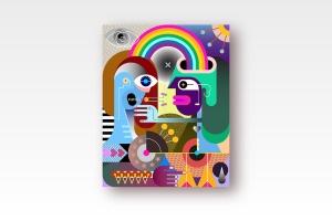 彩虹下的两个人抽象手绘矢量插画 Two people under a rainbow vector illustration插图1