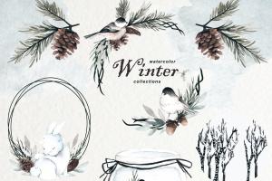 冬季元素水彩手绘剪贴画PNG素材 Winter Watercolor Collection插图2