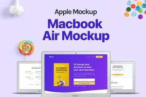 MacBook Air超极本电脑屏幕预览样机模板 Macbook Air Mockup插图1