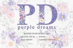 紫色梦幻水彩花卉图案设计素材包 Purple Dreams Watercolor Design Set插图1