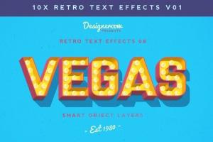 10款复古文本标题3D立体效果PS图层样式 Retro Text Effects V01插图1