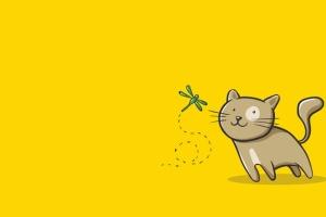 猫咪&蜻蜓矢量插画设计素材 Cat and Dragonfly Illustration Artwork插图2