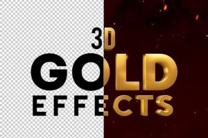 10款3D金色金属字体效果PSD分层模板 3D Metal & Gold Effects插图2