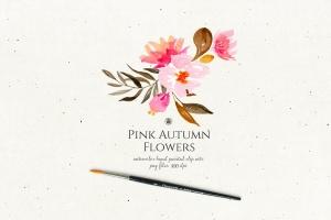 秋天粉色手绘花卉插画PNG素材v2 Pink Autumn Flowers vol.2插图4