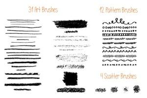 蜡笔绘画艺术AI画笔笔画 Vector Oil Pastels Brushes插图3
