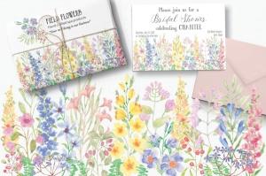 水彩手绘花卉边框&元素PNG素材 Field Flowers: Watercolor Border plus Elements插图(3)