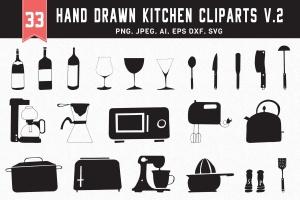 30+手绘厨房用具图案剪贴画素材合集v2 30+ Hand Drawn Kitchen Cliparts Ver. 2插图1