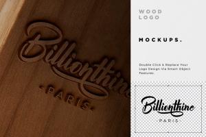 木刻/实木雕刻Logo效果图样机模板 Wood Logo Mockups插图5
