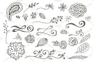 花朵叶子和花环简笔装饰素材 Spring Doodles插图4