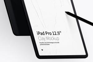 "iPad Pro平板电脑纵向正面和背面视图样机模板 Clay iPad Pro 12.9"" Mockup, Portrait Front and Back View插图3"