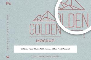 烫金印刷工艺Logo设计效果图样机 Gold Foil Paper Logo Mockup插图3