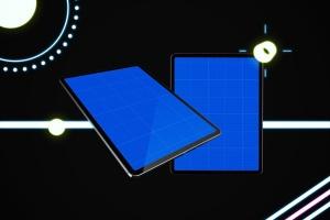 iPad Pro第三方设计屏幕预览样机模板 Neon iPad Pro Mockup插图10