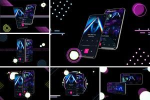 高质量霓虹灯风格iOS/Android手机样机模板 Neon IOS & Android插图1