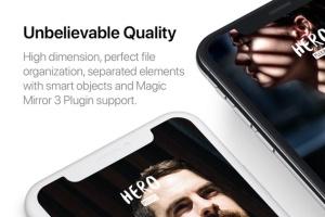 高质量黑色iPhone X设备样机模板 HERO Phone X Mockups插图4