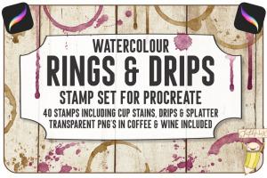创意Procreate专用画笔素材-水彩戒指和滴水印章插图1