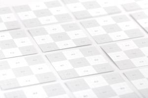 方形企业&工作室名片设计效果图等距网格样机02 Square Business Cards Mockup 02插图2